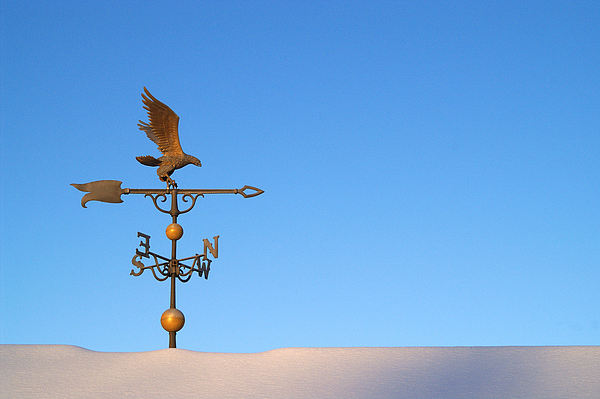 Weathervane On Snow Print by Robert  Suits Jr
