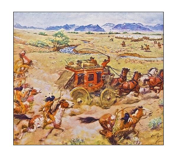 Wells Fargo Express Old Western Print by Susan Leggett