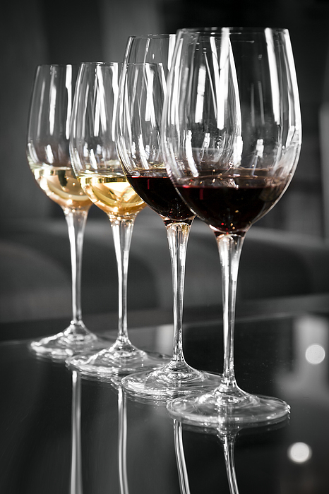 White And Red Wine Glasses Print by Edward Duckitt