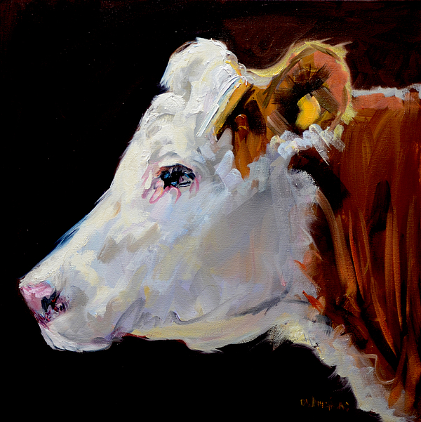 White on brown cow by diane whitehead for Cow painting print