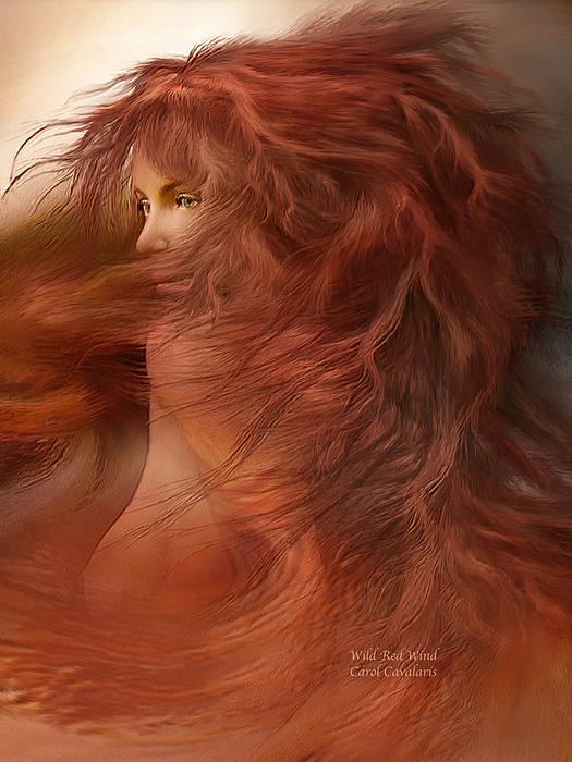 Wild Red Wind Print by Carol Cavalaris