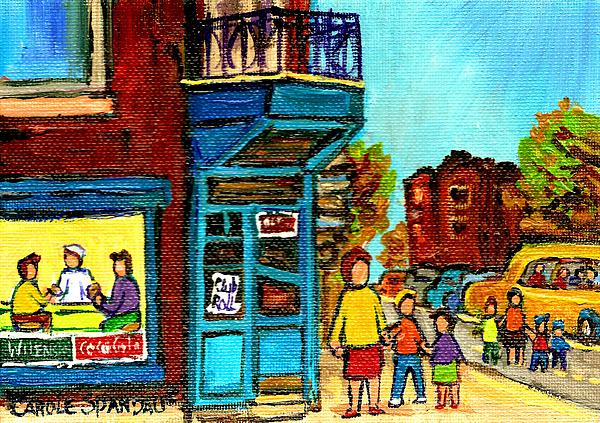 Wilensky's Counter With School Bus Montreal Street Scene Print by Carole Spandau