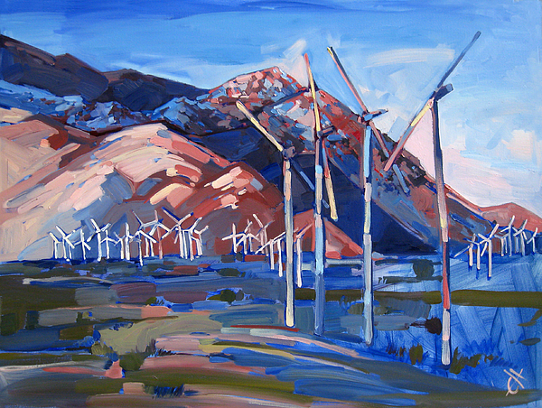 Windmills At Palm Springs Print by Erin Hanson