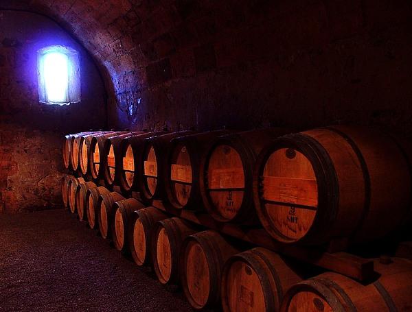 Wine Barrels In Napa Print by Brian M Lumley