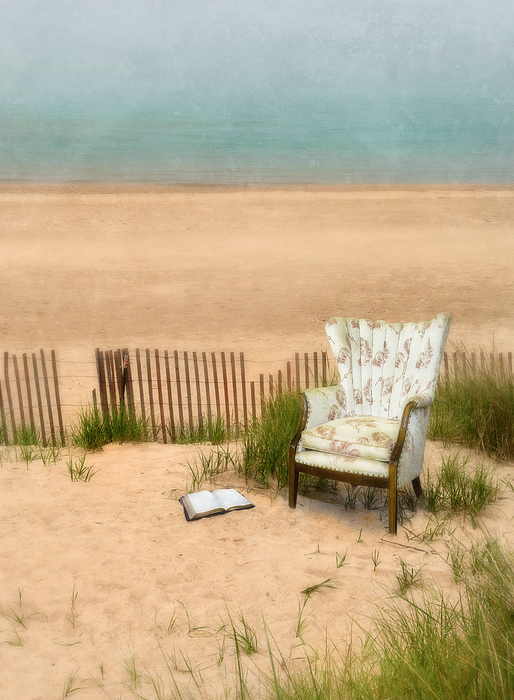 Wingback Chair At The Beach Print by Jill Battaglia