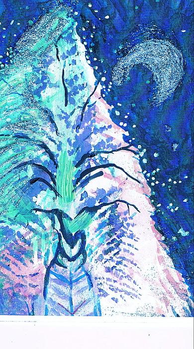 Winter Fantasy Tree With Moon Print by Anne-Elizabeth Whiteway