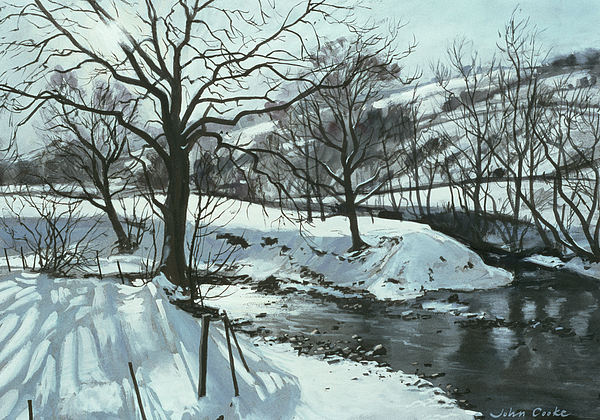 Winter River Print by John Cooke