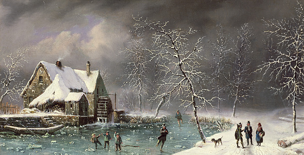 Winter Scene Print by Louis Claude Mallebranche