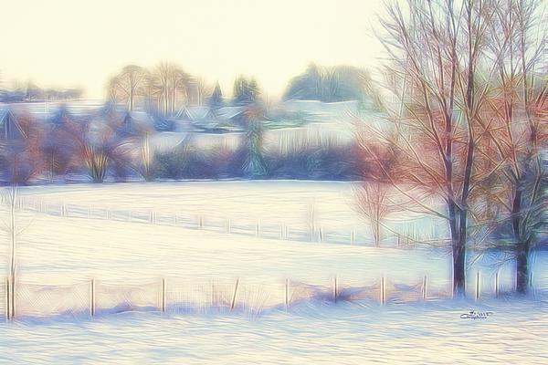 Winter Village Print by Jutta Maria Pusl