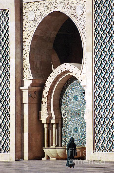 Woman At Mosque Casablanca Print by Linda  Parker