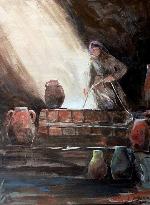 Woman At The Well Print by Jun Jamosmos