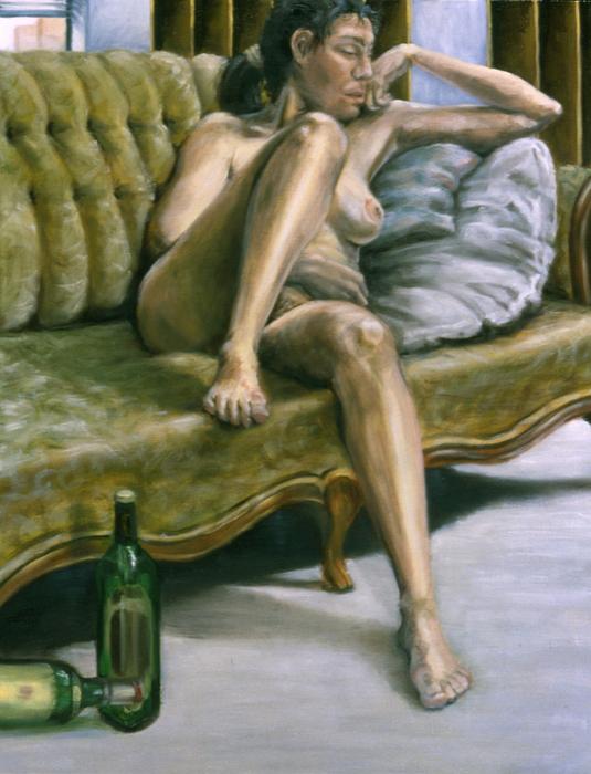 Woman On Green Sofa Print by John Clum