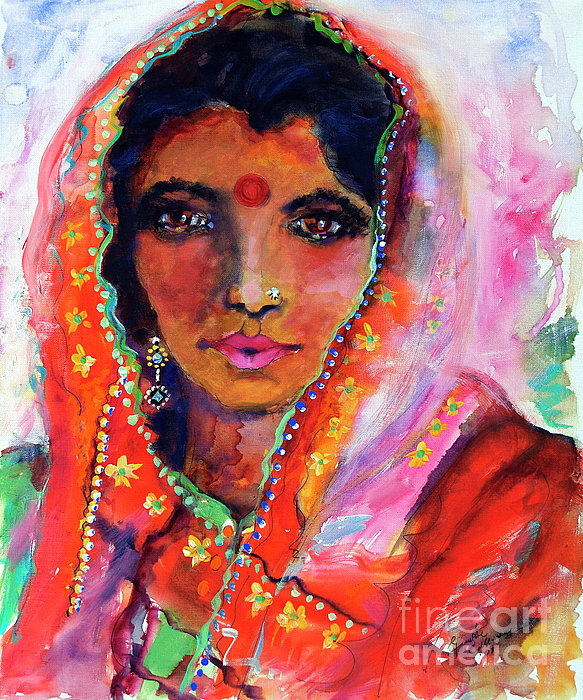Women With Red Bindi By Ginette Print by Ginette Callaway