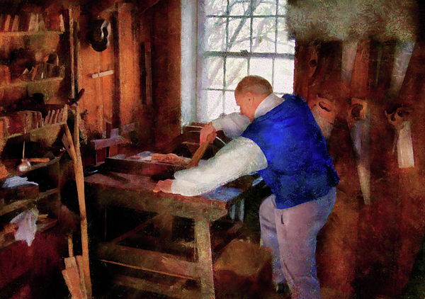 Woodworker - The Master Carpenter Print by Mike Savad