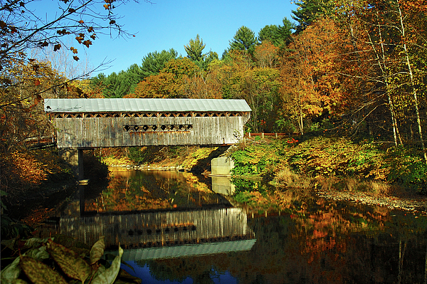 Worrall's Bridge Vermont - New England Fall Landscape Covered Bridge Print by Jon Holiday