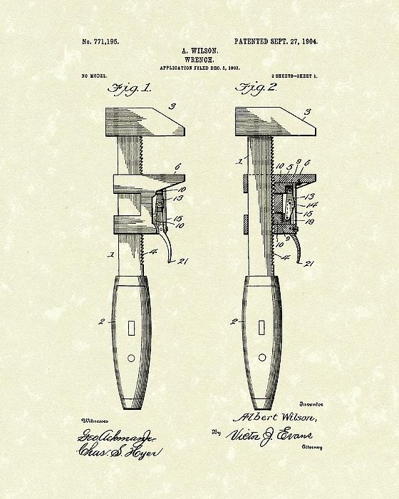 Wrench Wilson 1904 Patent Art Print by Prior Art Design