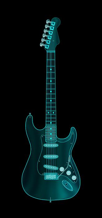 X-ray Electric Guitar Print by Michael Tompsett