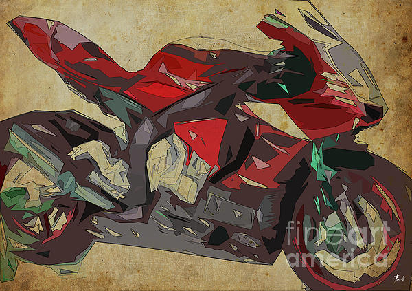 Pablo Franchi - Yamaha Yzf-r1 2015 Abstract Red Motorcycle Print For Man Cave Or Man Office