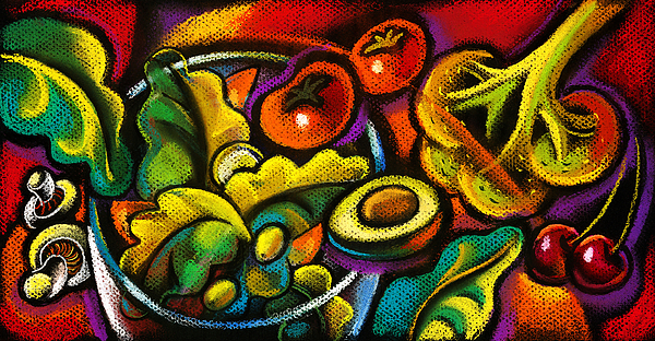 Yammy Salad Print by Leon Zernitsky