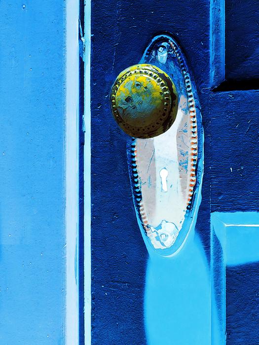 Yellow Door Knob Print by Marion McCristall