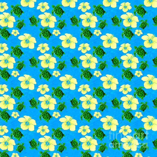 Yellow Hibiscus Hawaiian Pattern Print by Chris MacDonald