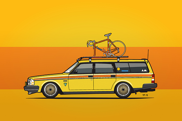 ... 245 Wagon With Roof Rack And Vintage Bicycle by Monkey Crisis On Mars