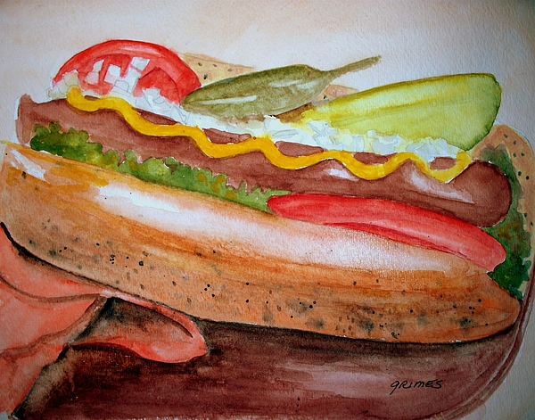 Yummy Chicago Dog Print by Carol Grimes
