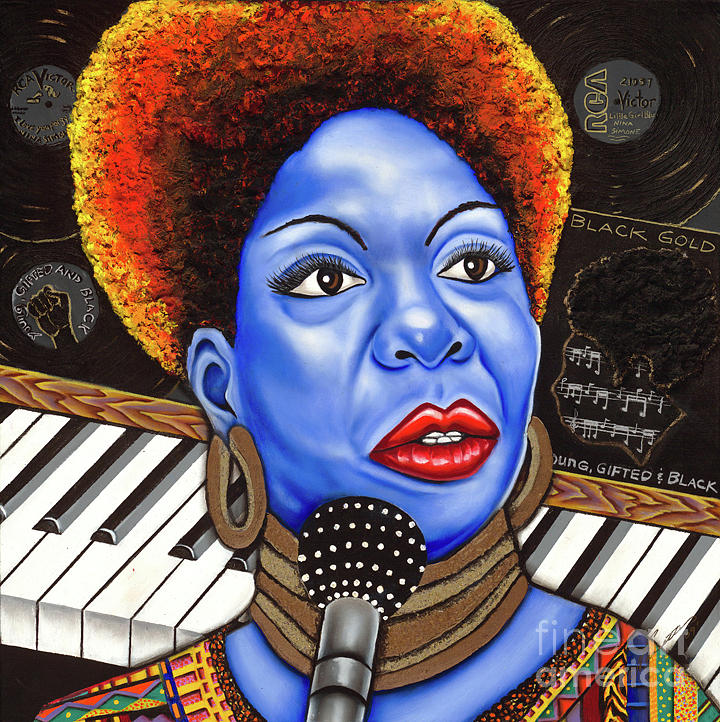 Blue Painting Painting -  A Part Of Nina Simone by Nannette Harris
