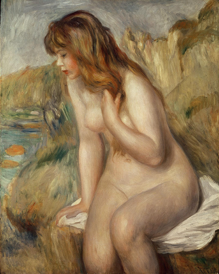 Impressionist; Red Hair; Female; Nude; Girl Painting -  Bather Seated On A Rock by Pierre Auguste Renoir