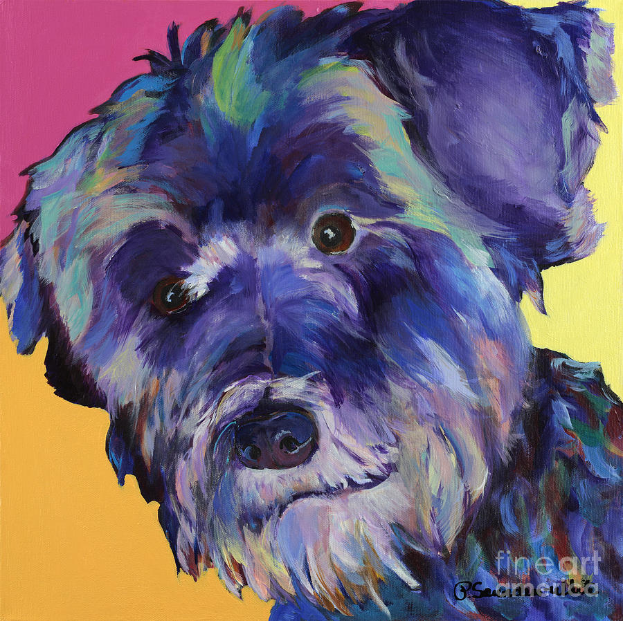 Schnauzer Acrylic Painting Painting -  Beau by Pat Saunders-White