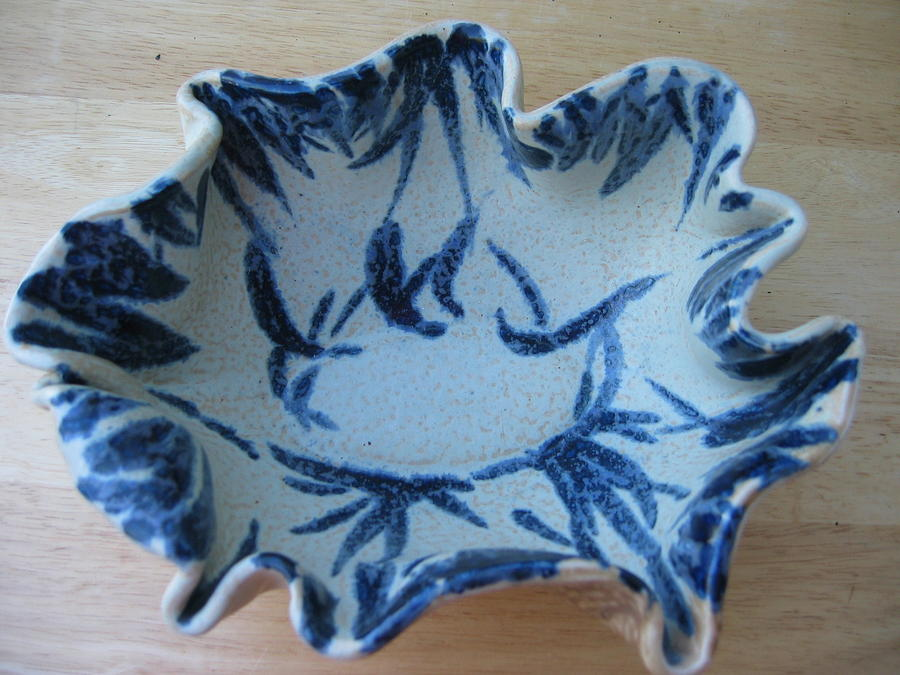 Bowl Ceramic Art -  Blue Leafy Bowl by Julia Van Dine