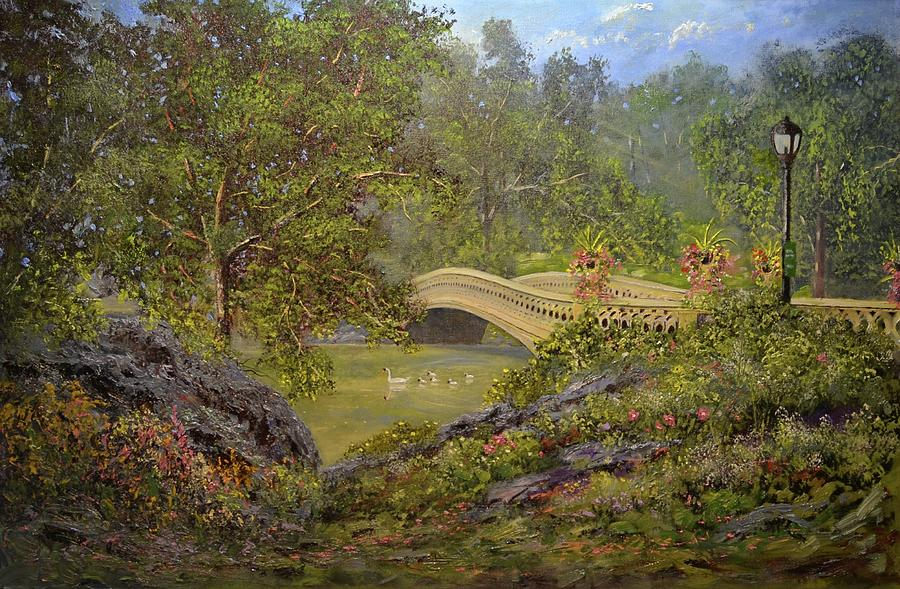 Manhattan Painting -  Bow Bridge Central Park by Michael Mrozik