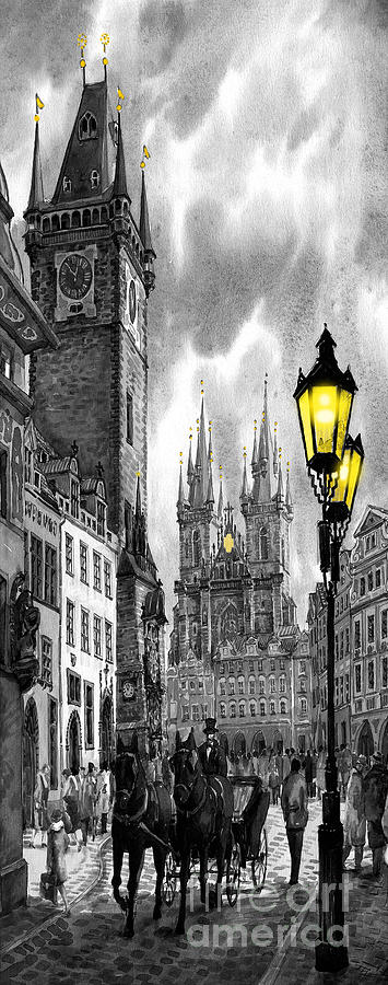 Geelee.watercolour Paper Painting -  Bw Prague Old Town Squere by Yuriy  Shevchuk