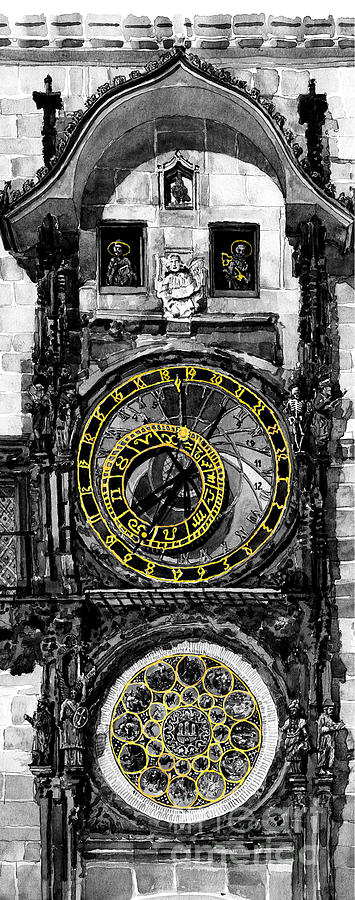 Geelee.watercolour Paper Painting -  Bw Prague The Horologue At Oldtownhall by Yuriy  Shevchuk