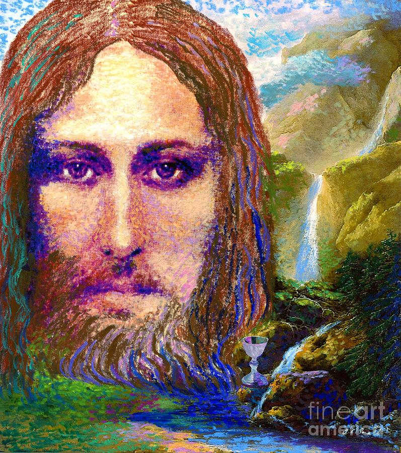 Contemporary Jesus Painting, Chalice Of Life Painting