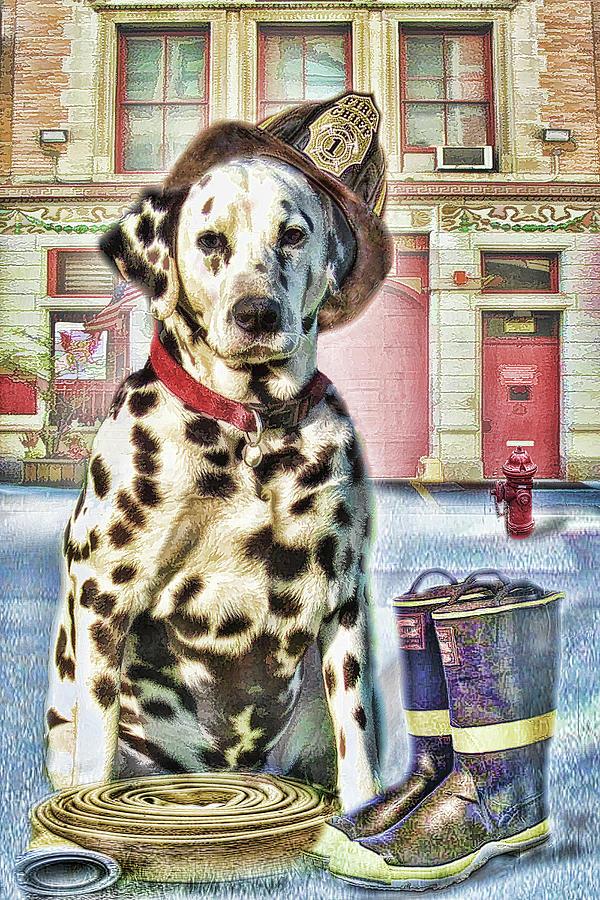 Dog Digital Art -  Firemans Friend by Trudi Simmonds