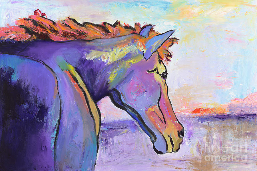 Purple Horse Painting -  Frosty Morning by Pat Saunders-White