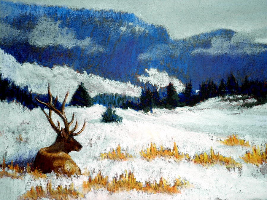 Mountain Snow Landscape Painting Pastel -  High Country Elk by Curt Peifley