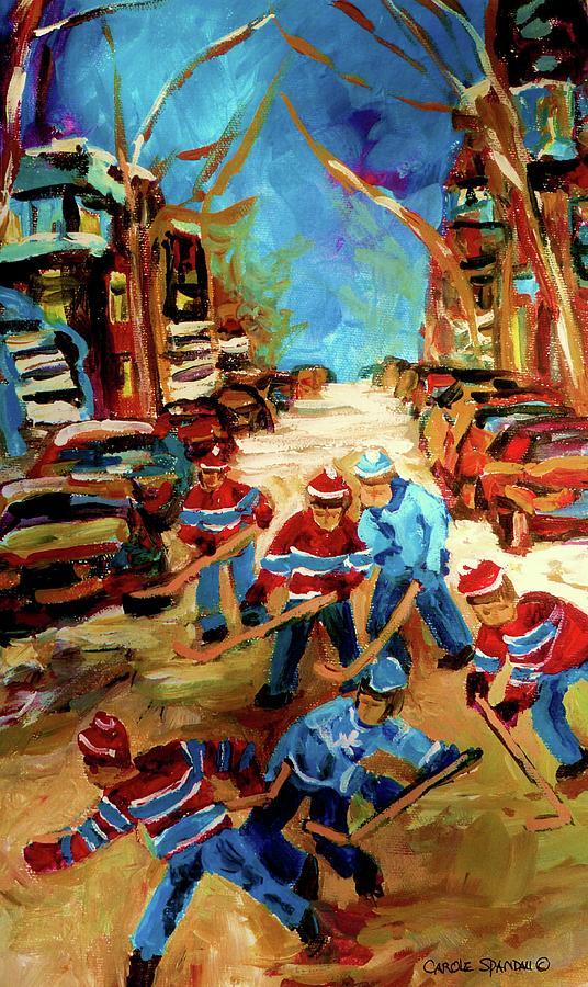 Montreal Painting -  Hockey Paintings Of Montreal St Urbain Street Winterscene by Carole Spandau