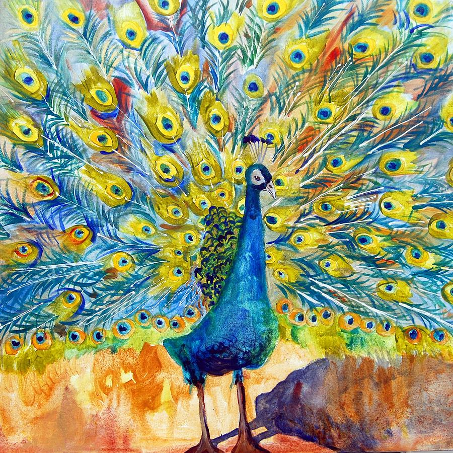 Peacock Pootinella - Modern Art Painting by Miriam Schulman