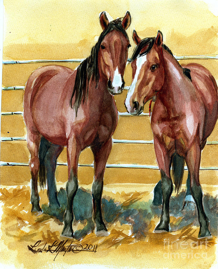 Mustang Painting -  Pick Up Day by Linda L Martin