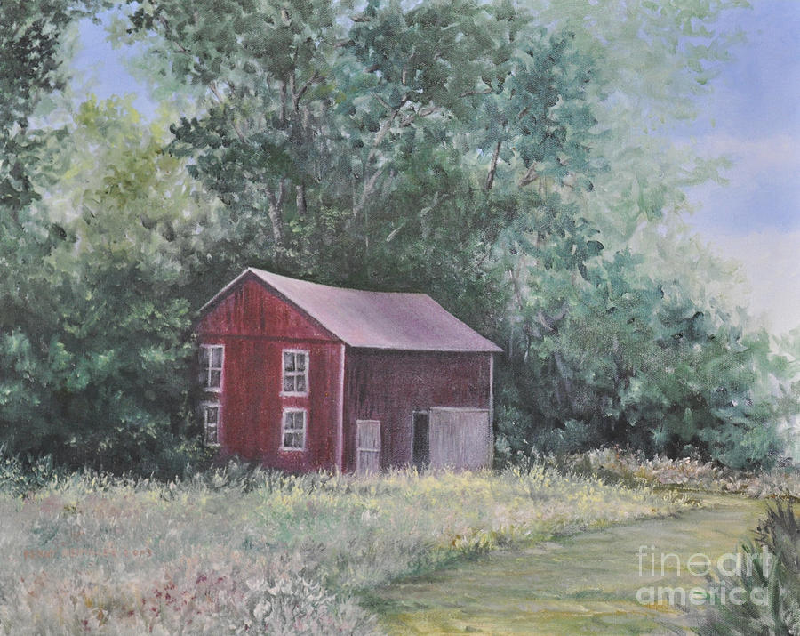 Oil Paintingsof Red Barns Painting -  Shortys Shed by Penny Neimiller
