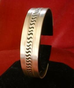 Hand Made Jewelry -  Stamped Sterling Silver Friendship Bracelet by Eddie Romero