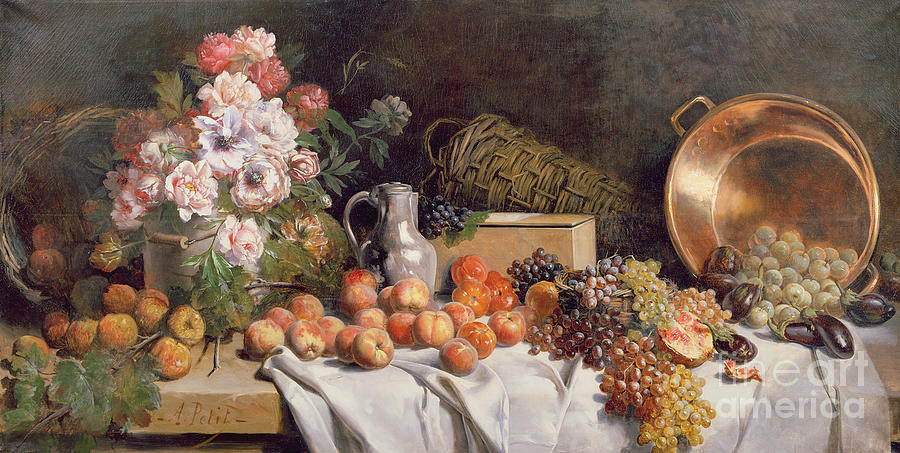 Still Painting -  Still Life With Flowers And Fruit On A Table by Alfred Petit