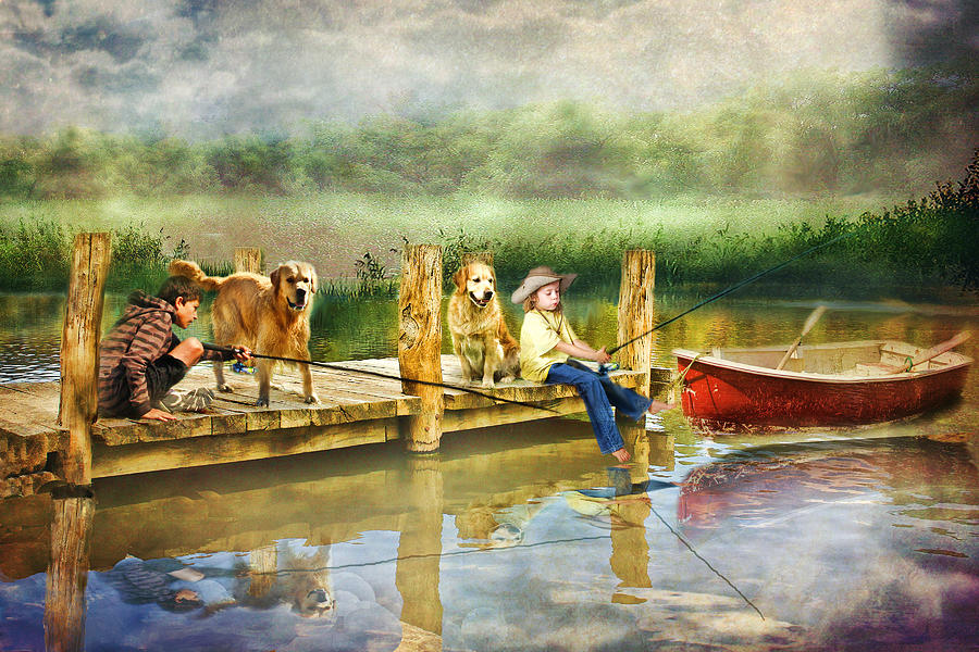 Golden Retriever Photograph -  The Fishing Spot by Trudi Simmonds