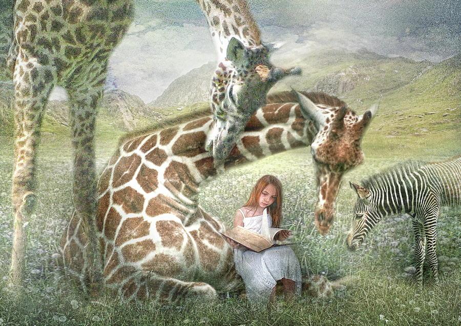 Giraffe Digital Art -  The Reading Room by Trudi Simmonds