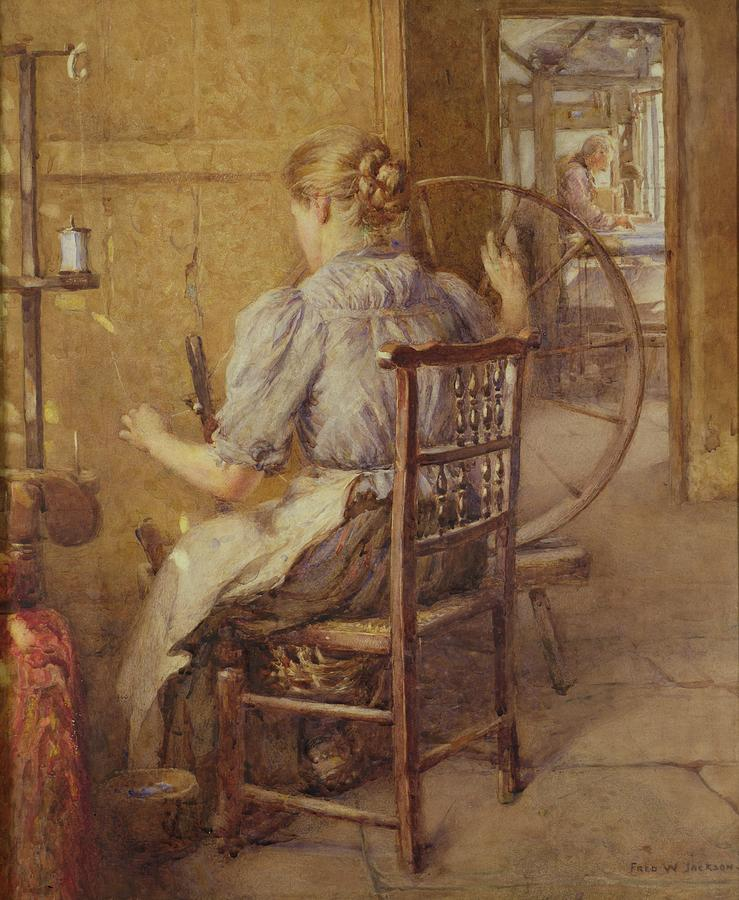 Chair; Bun; Loom; Bobbin-back Chair Painting -  The Spinning Wheel  by Frederick William Jackson