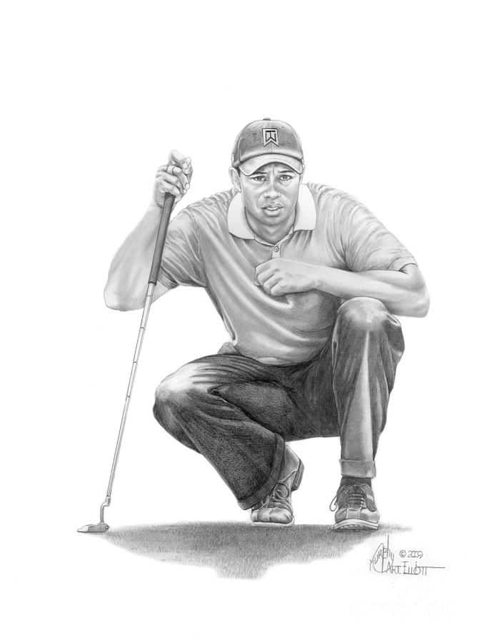 Tiger Woods Drawing -  Tiger Woods Crouching Tiger by Murphy Elliott