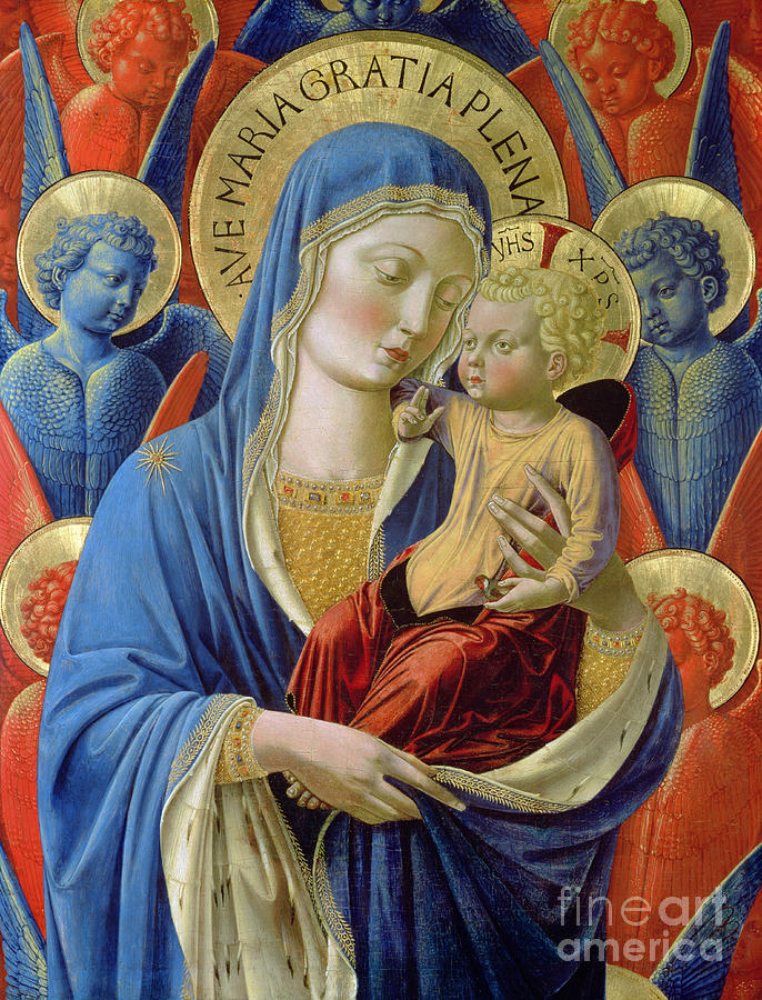 Virgin And Child With Angels Painting -  Virgin And Child With Angels by Benozzo di Lese di Sandro Gozzoli