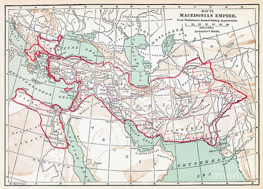 3rd Century B.c. Painting - Map Of Macedonian Empire by Granger